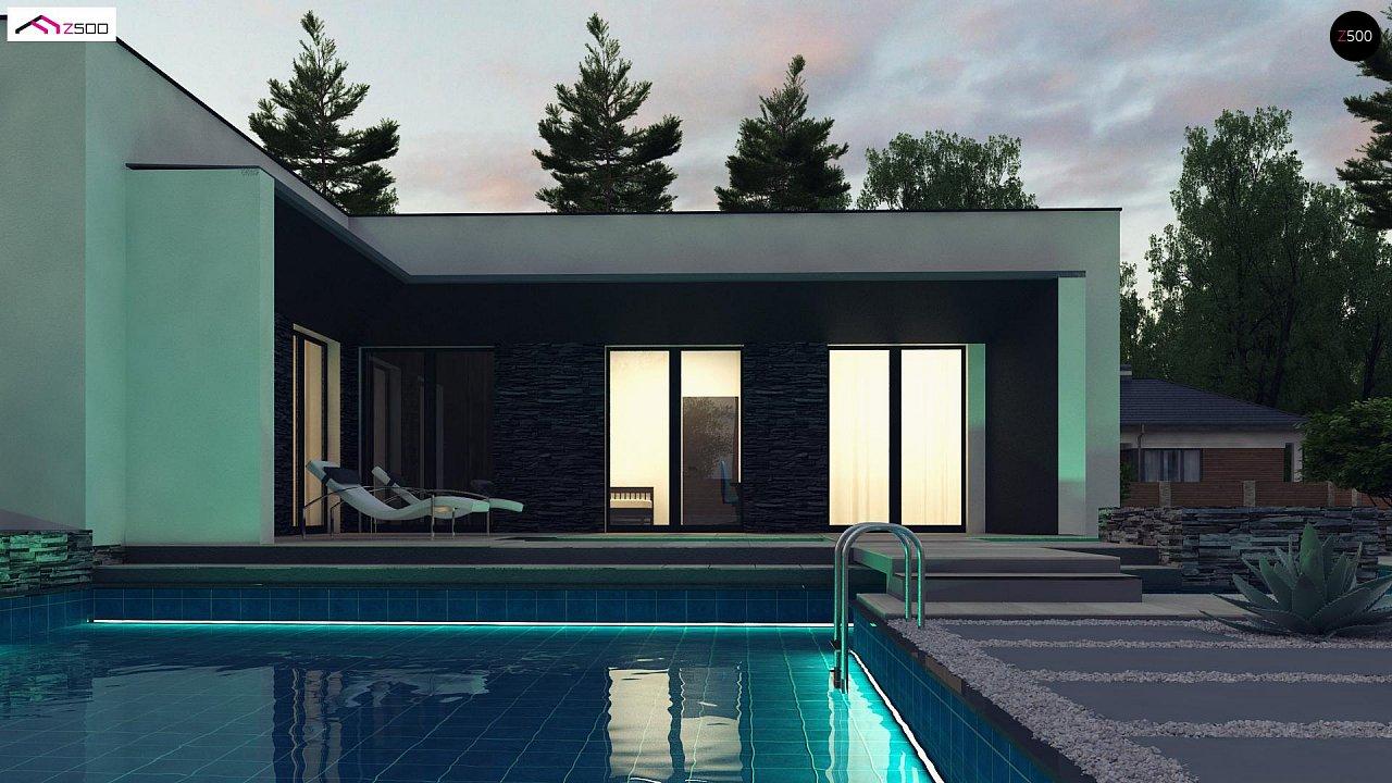 Современный одноэтажный дом с плоской крышей и гаражом на один автомобиль. - фото 2
