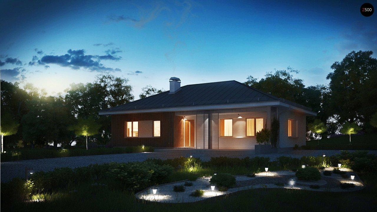 Практичный одноэтажный дом традиционной формы с многоскатной крышей. 3