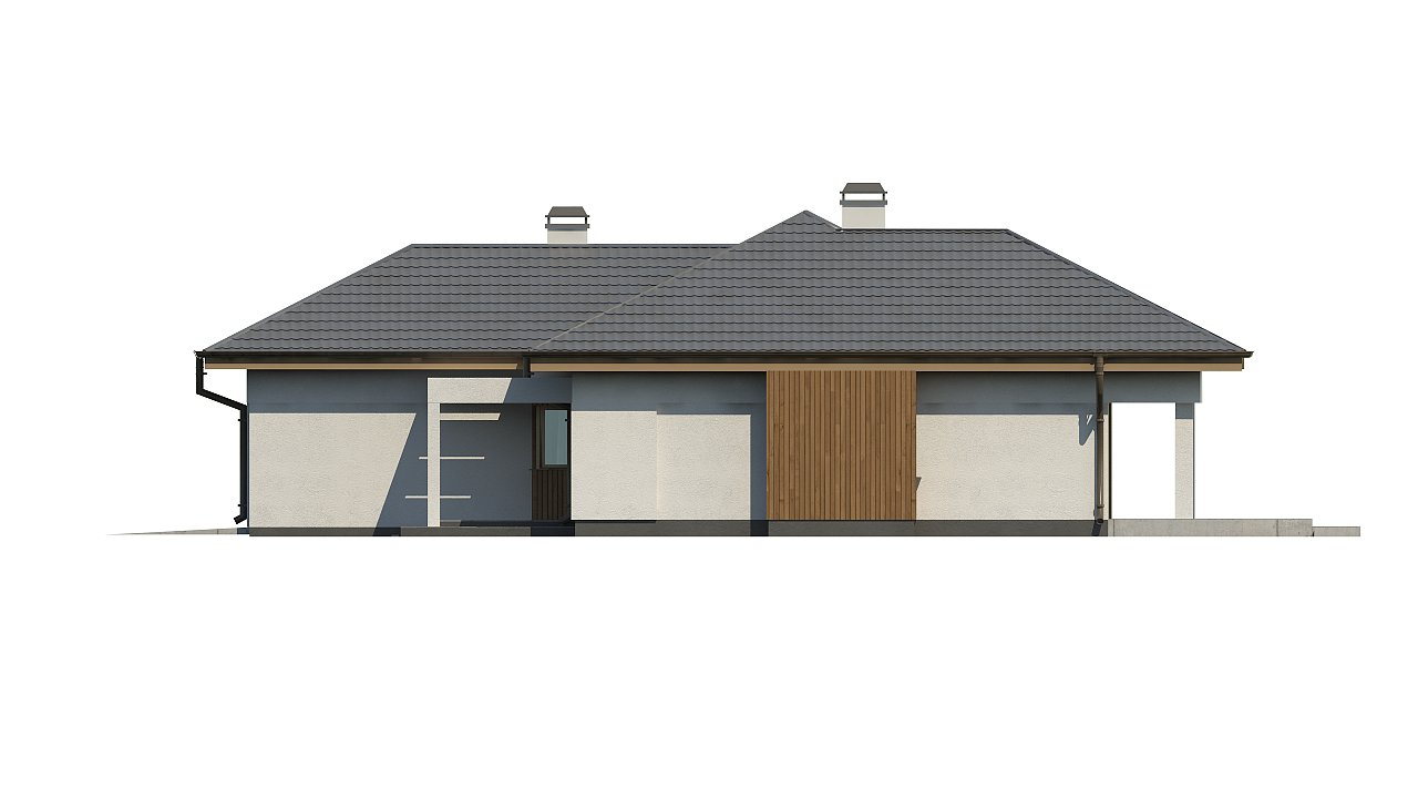 Одноэтажный дом с многоскатной крышей, с удобным функциональным интерьером. 13