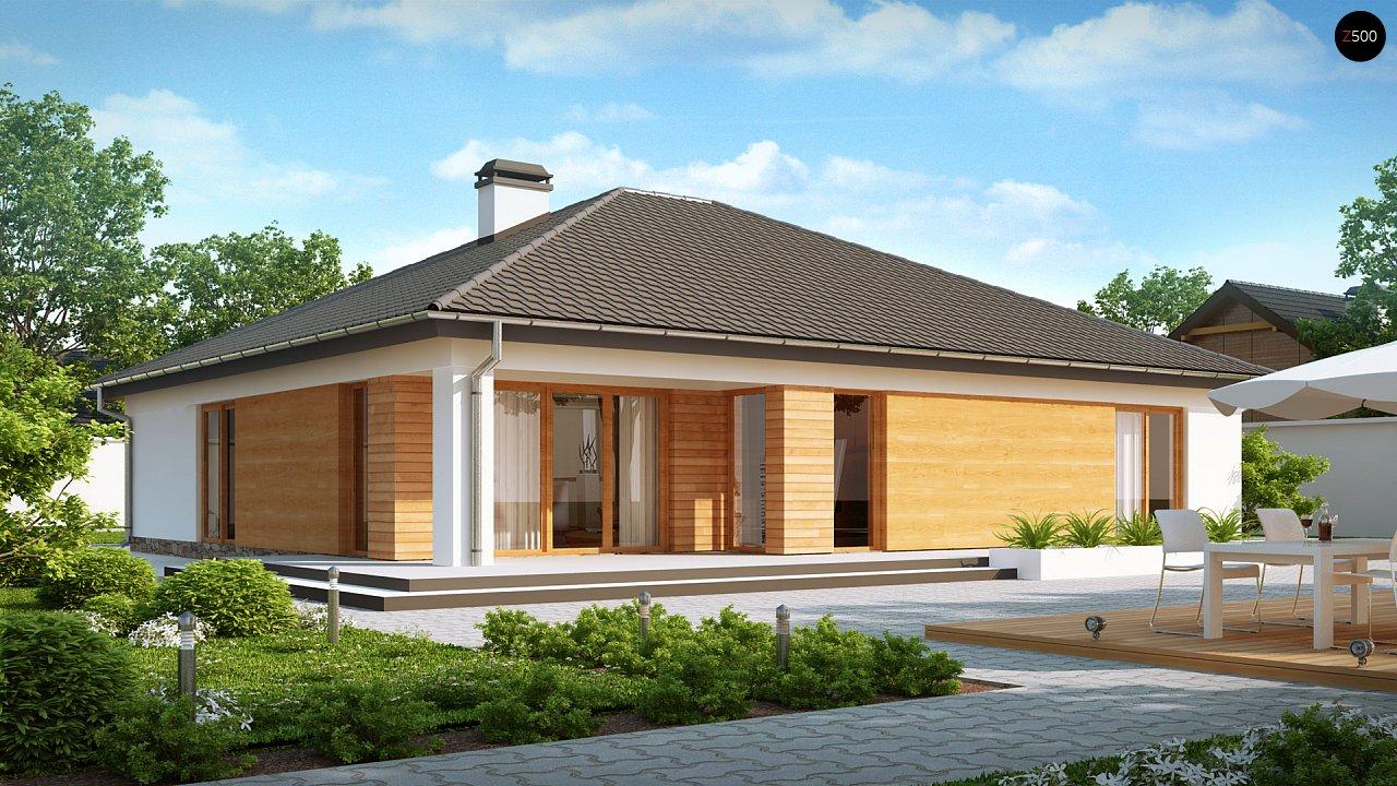 Комфортный одноэтажный дом с выступающим фронтальным гаражом для двух машин. 2