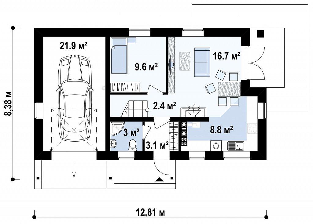 Версия проекта дома Z71 с гаражом, пристроенным слева. план помещений 1