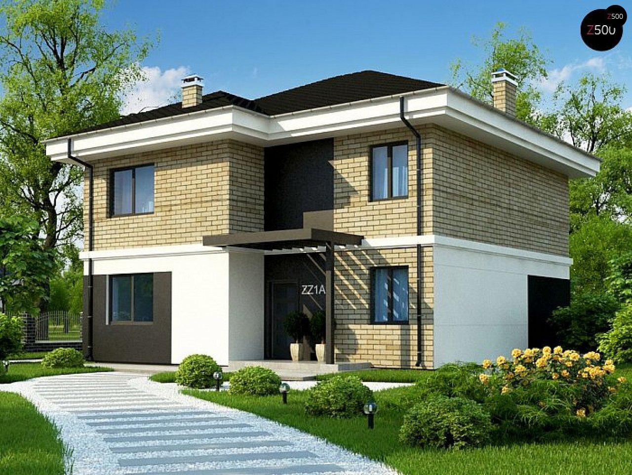 Вариант двухэтажного дома Zz1a с плитами перекрытия 1