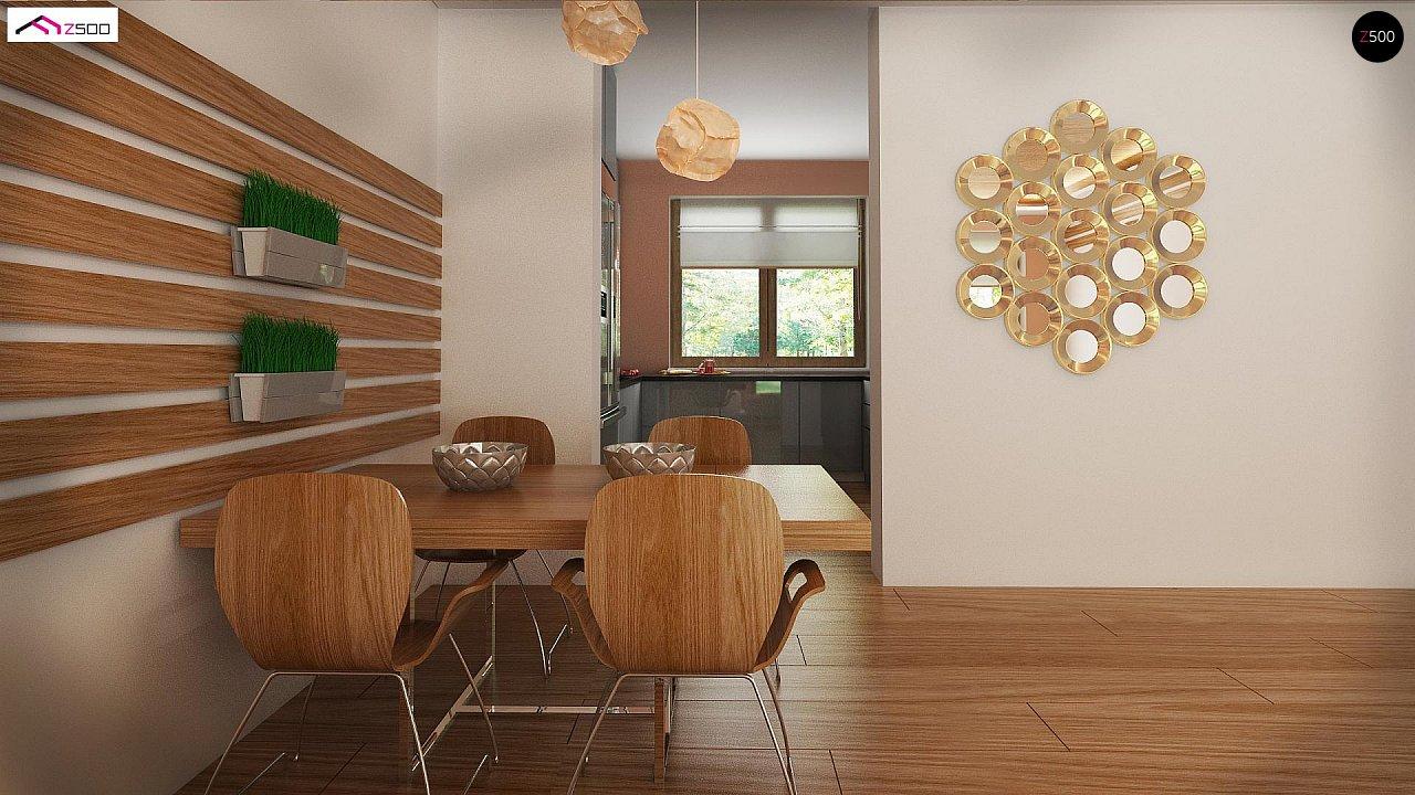Аккуратный одноэтажный дом с деревянной отделкой на фасадах. 12