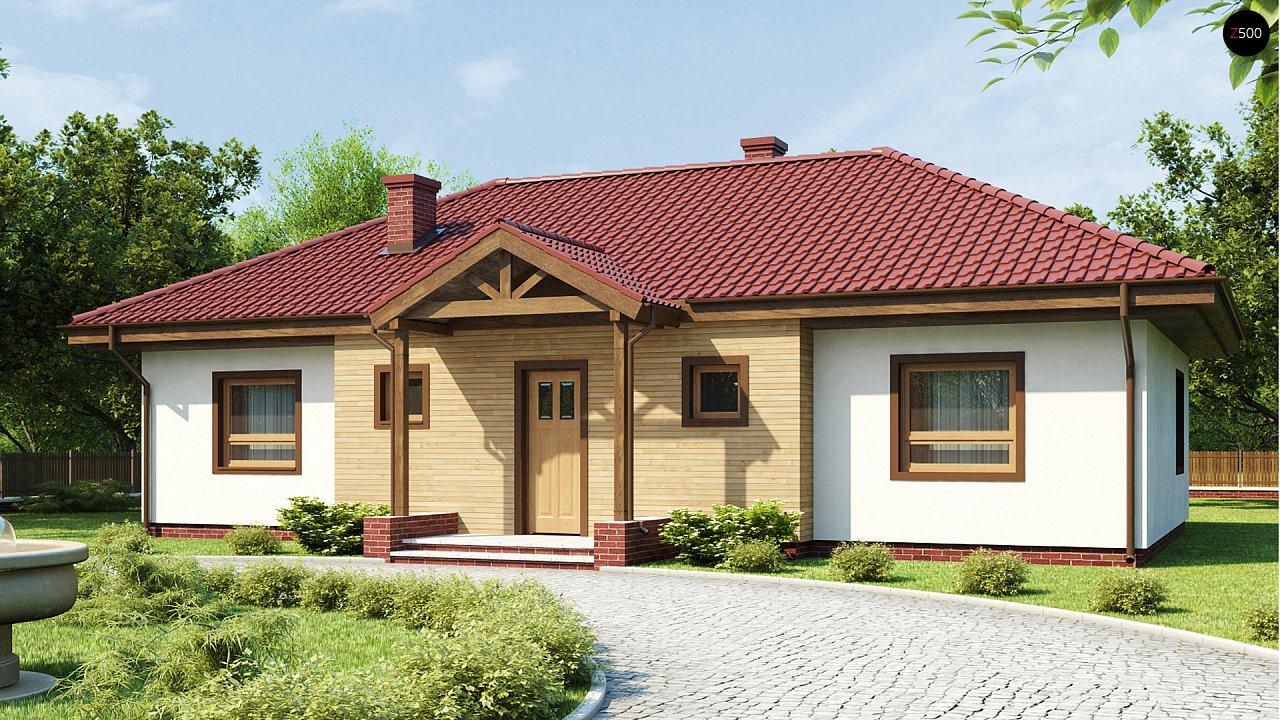 Симметричный одноэтажный дом с многоскатной кровлей. 1