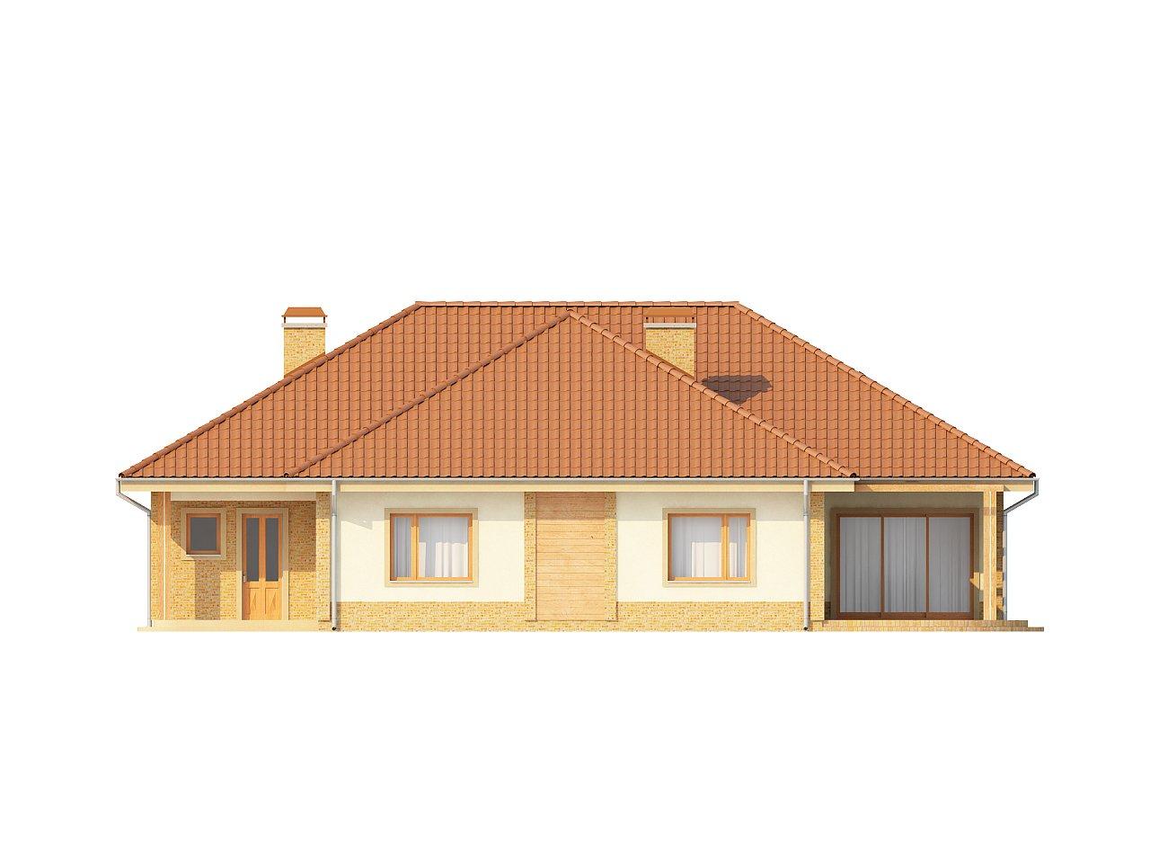 Проект просторного одноэтажного дома с возможностью обустройства мансарды. 4