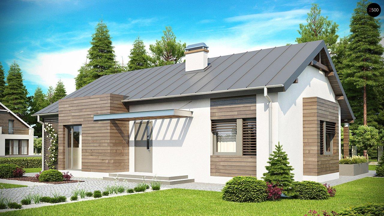 Функциональный одноэтажный дом с современными элементами отделки фасадов. - фото 1