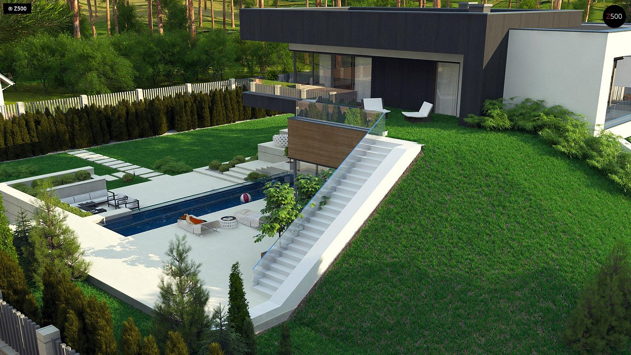 Проект современного двухэтажного дома. Проект подойдет для строительства на участке со склоном. - фото 6