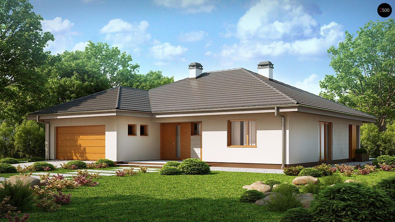 Практичный одноэтажный дом с гаражом для двух автомобилей и большим хозяйственным помещением. 2