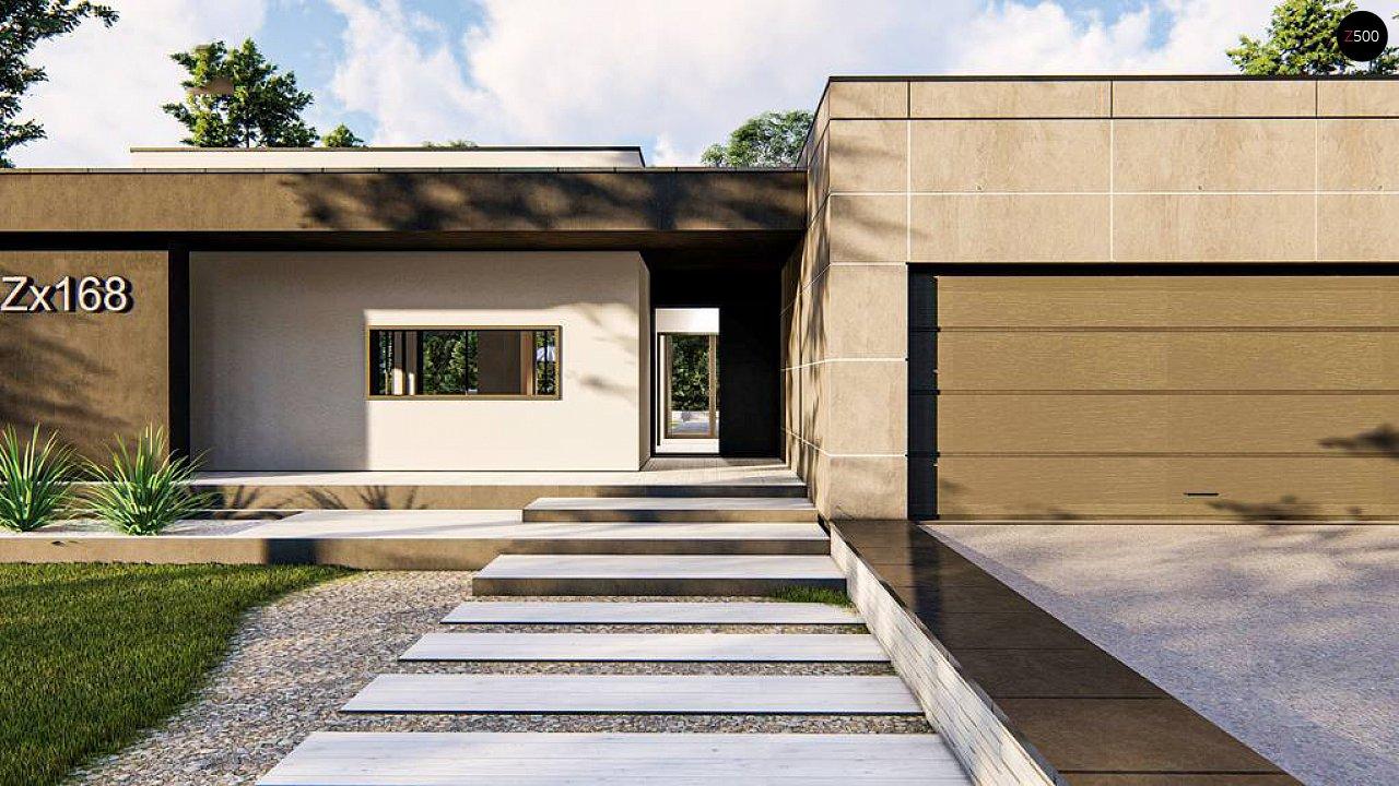 Современный одноэтажный дом с внешним камином 6