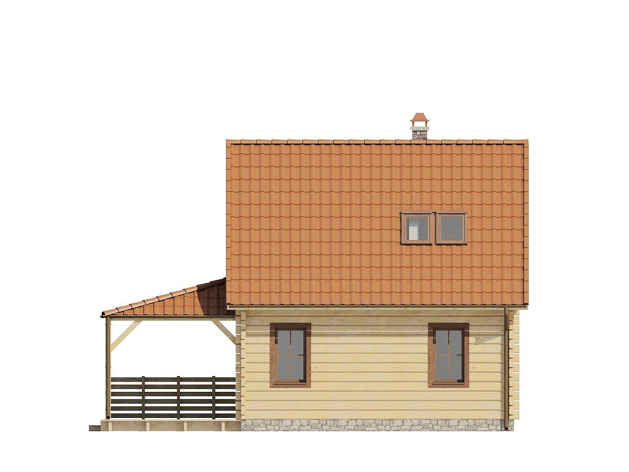 Проект небольшого дома с мансардой, с крытой боковой террасой. - фото 4