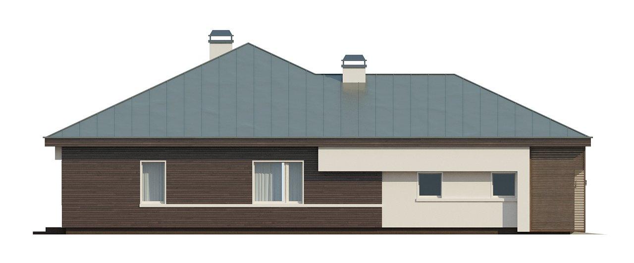 Удобный одноэтажный дом с гаражом для двух автомобилей, с большой площадью остекления в дневной зоне. 30