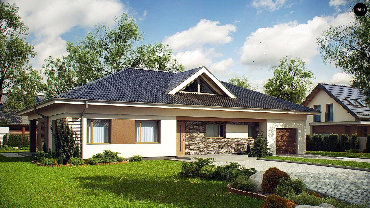 Проект просторного одноэтажного дома с 4 спальнями. - фото 1