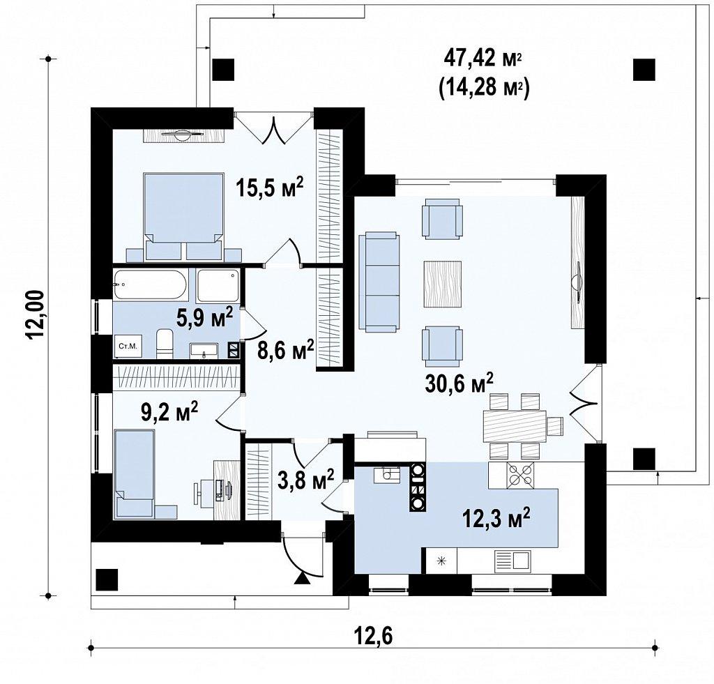 Небольшой домик с удобной планировкой план помещений 1