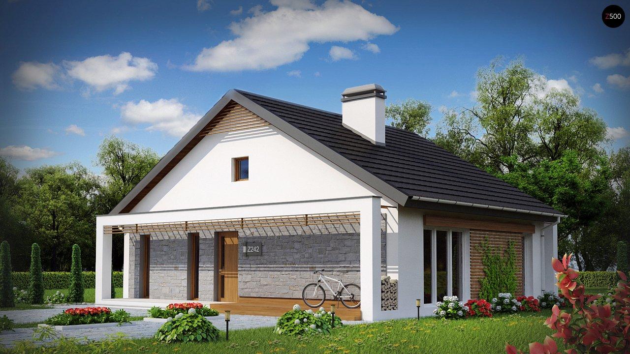 Одноэтажный дом с дополнительной фронтальной террасой. 1