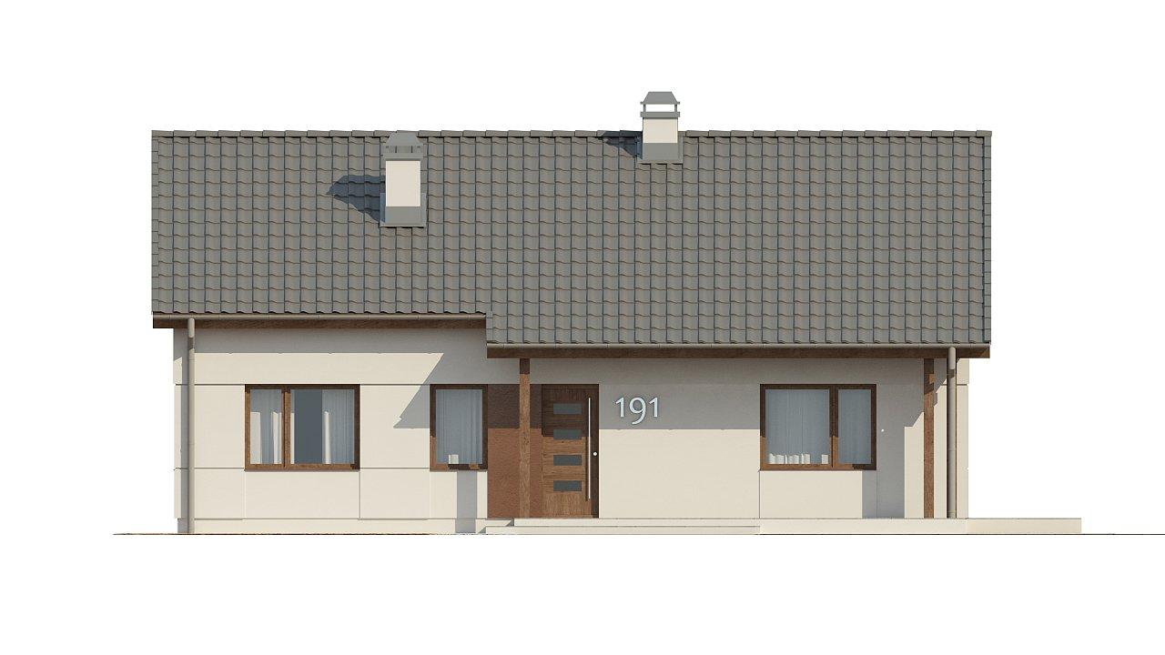 Компактный одноэтажный дом простой формы с возможностью обустройства чердачного помещения. 21