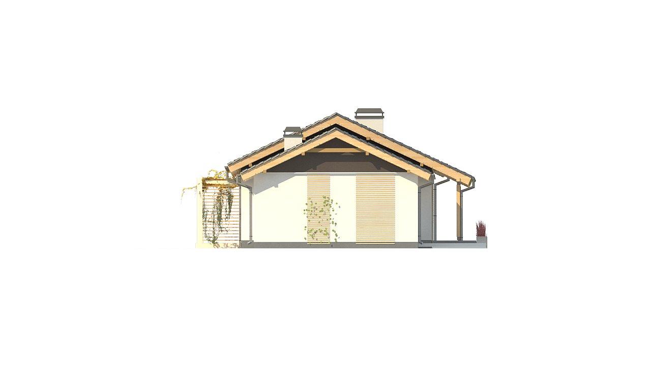 Небольшой одноэтажный дом с большой площадью остекления в гостиной. 11