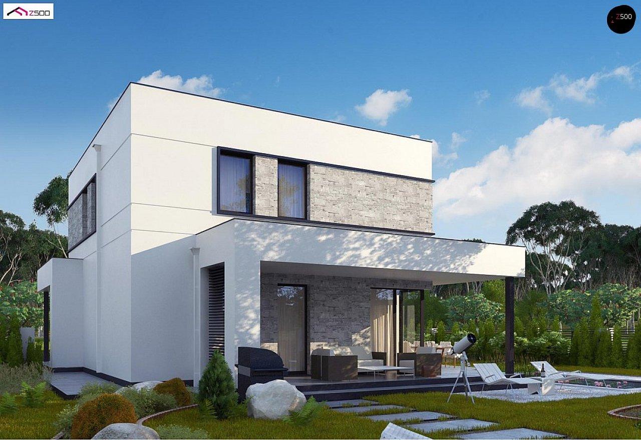 Вариант двухэтажного дома Zx92 с плоской кровлей с плитами перекрытия - фото 2