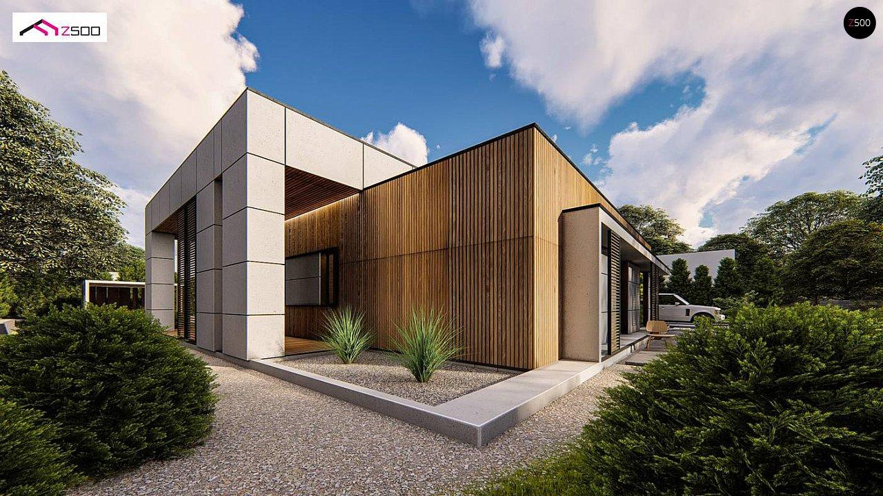 Современный одноэтажный дом c плоской кровлей и просторным гаражом для двух автомобилей. 3