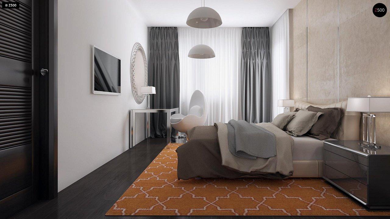 Проект удобного одноэтажного дома с гаражом для двух автомобилей и большим хозяйственным помещением. 12