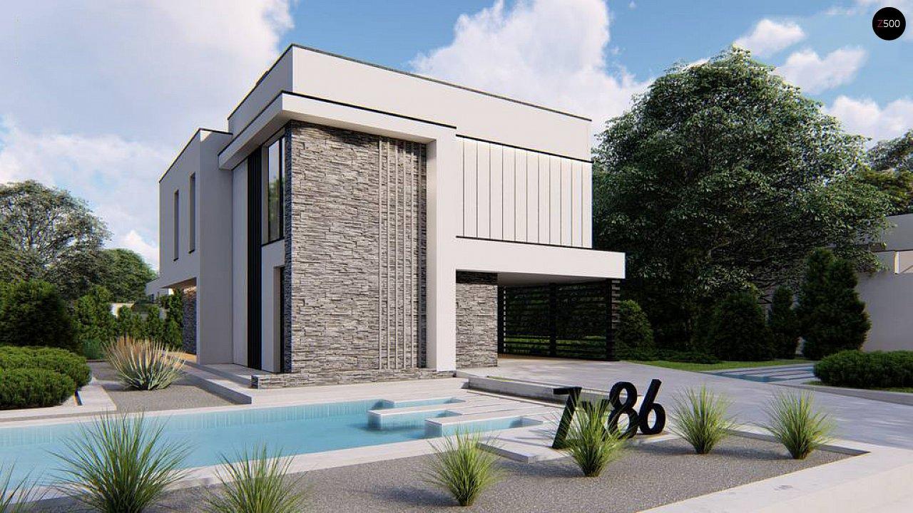Двухэтажный проект дома для семьи из 4 человек с современным дизайном и навесом для машины 1