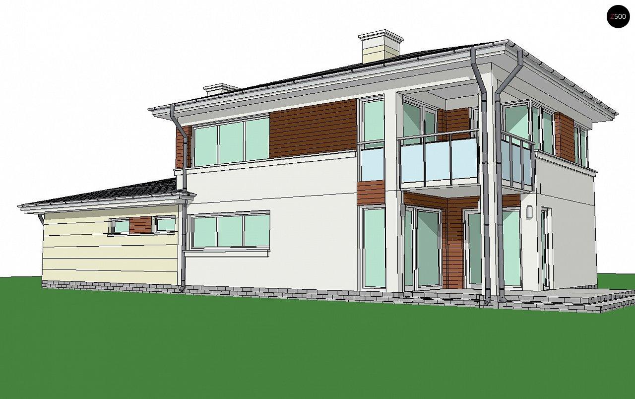 Двухэтажный дом с низкой кровлей с двухместным гаражом - фото 2
