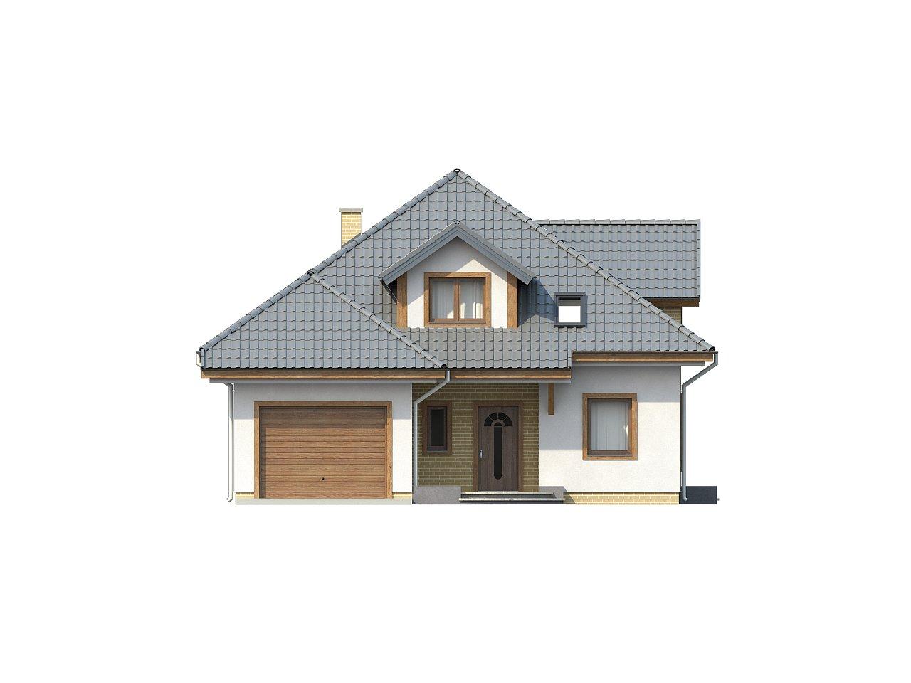 Проект дома с мансардой, с большим техническим помещением и дополнительной спальней на первом этаже. - фото 3