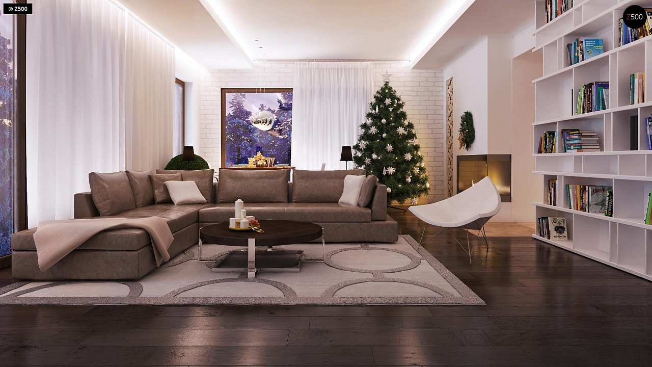 Дом характерного современного дизайна с гаражом и кабинетом на первом этаже. - фото 24