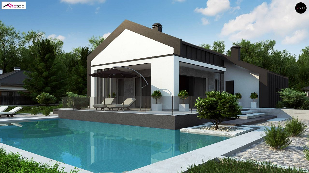 Современный одноэтажный дом с двускатной крышей и большой террасой 2