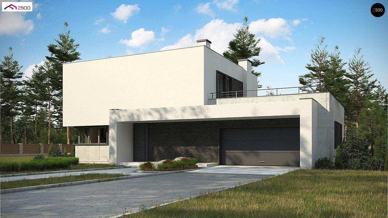 Современный двухэтажный дом с просторной террасой и гаражом на две машины. - фото 1