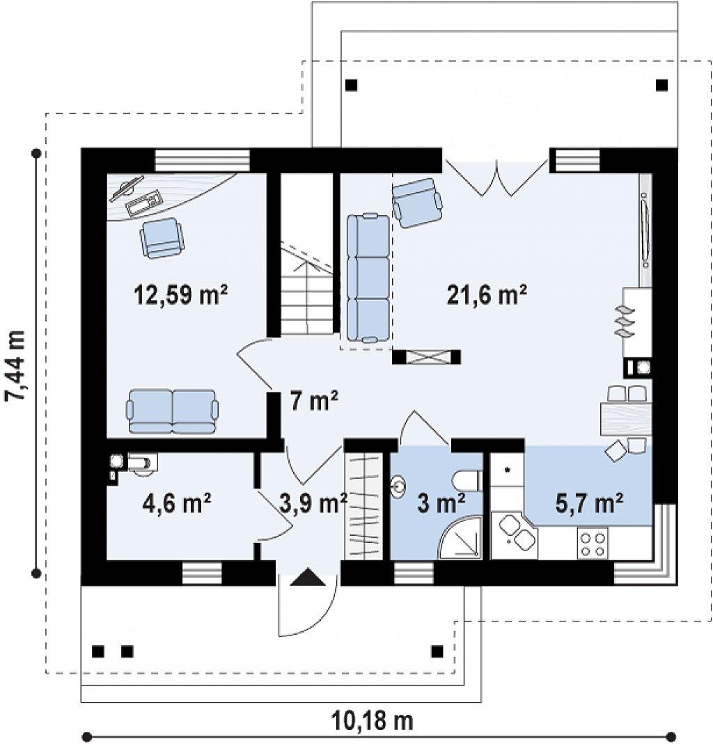 Компактный односемейный дом с дополнительной спальней на первом этаже. план помещений 1