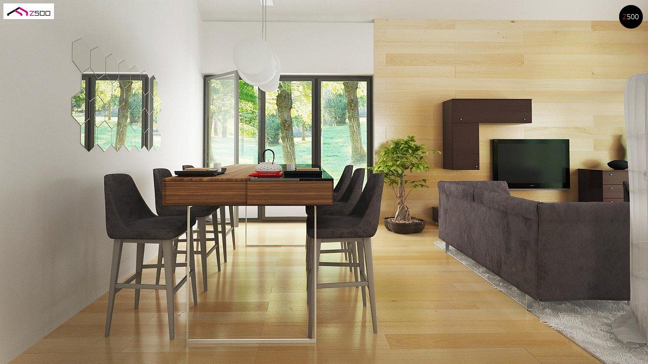 Стильный одноэтажный дом с панорамным остеклением в гостиной - фото 10