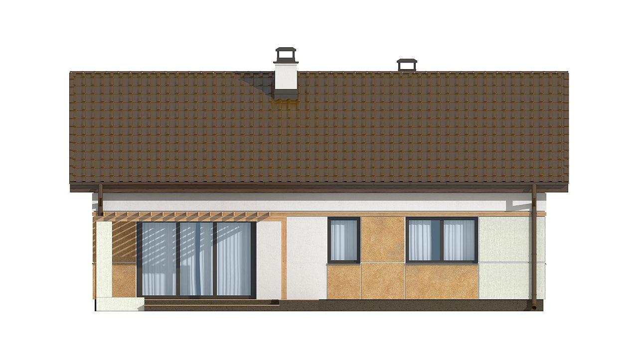 Компактный, уютный одноэтажный дом с двускатной крышей. 17