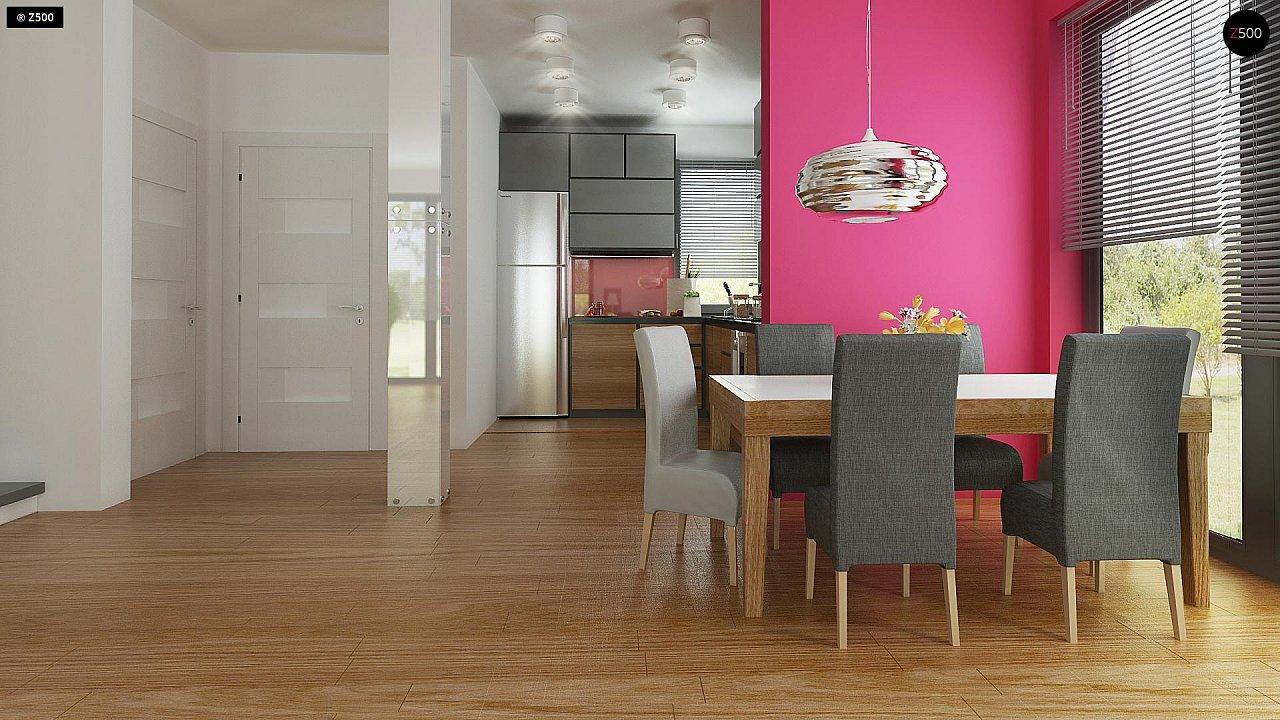 Дом простой энергосберегающей формы со светлым интерьером, подходящий для узкого участка. - фото 6