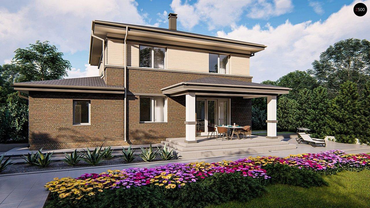 Проект двухэтажного дома на фасаде с клинкерным кирпичом - фото 3