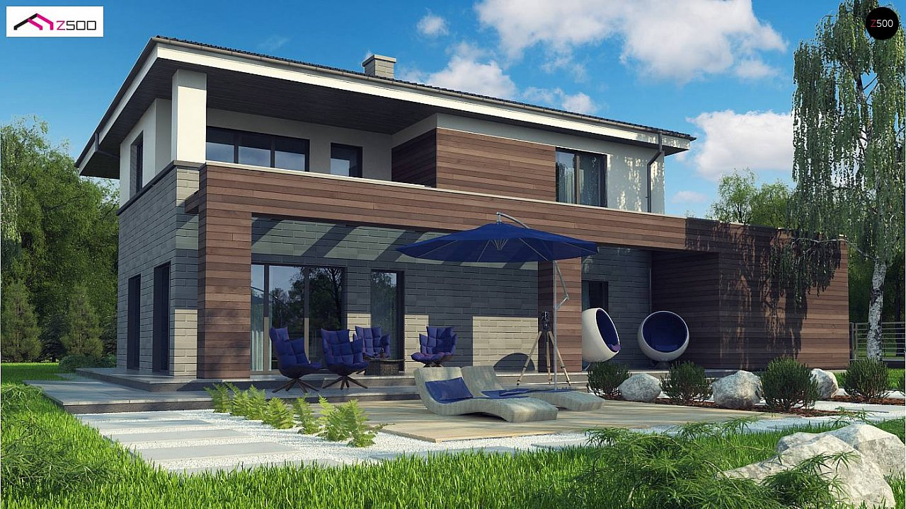 Проект двухэтажного дома простой формы с боковым гаражом - фото 3