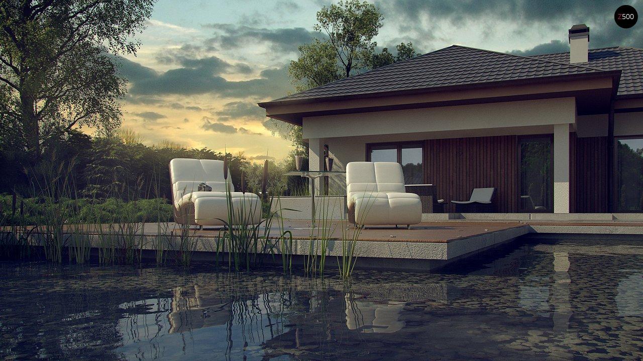 Одноэтажный дом с многоскатной крышей, с удобным функциональным интерьером. 3