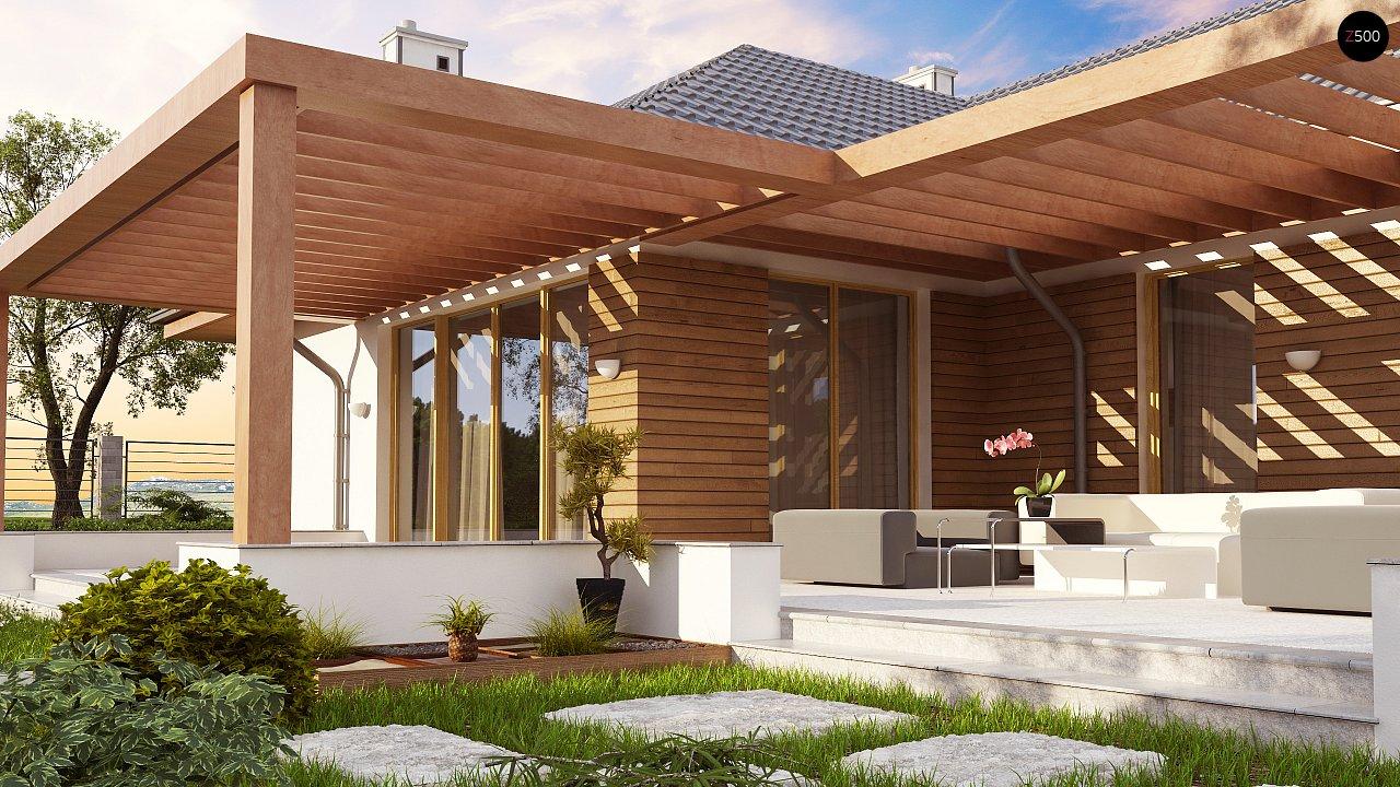 Проект комфортного одноэтажного дома с фронтальным гаражом для двух машин. 4