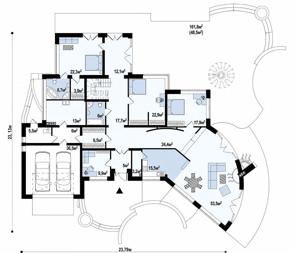 Изысканная резиденции с прекрасно продуманным интерьером. план помещений 1