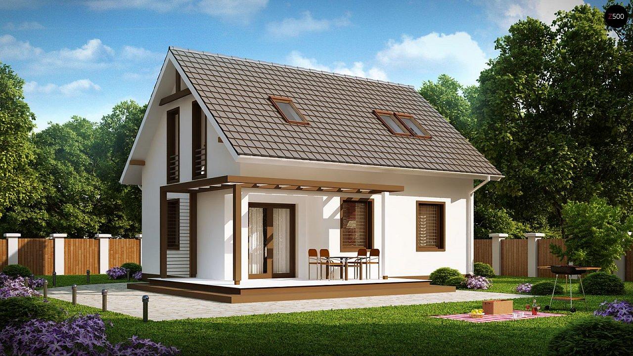 Проект каркасного мансардного дома в классическом дизайне 1