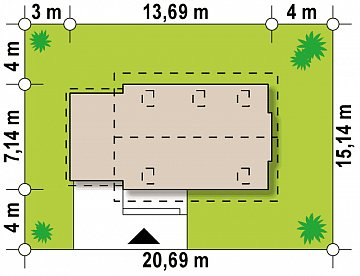 Проект компактного аккуратного дома с гаражом. план помещений 1