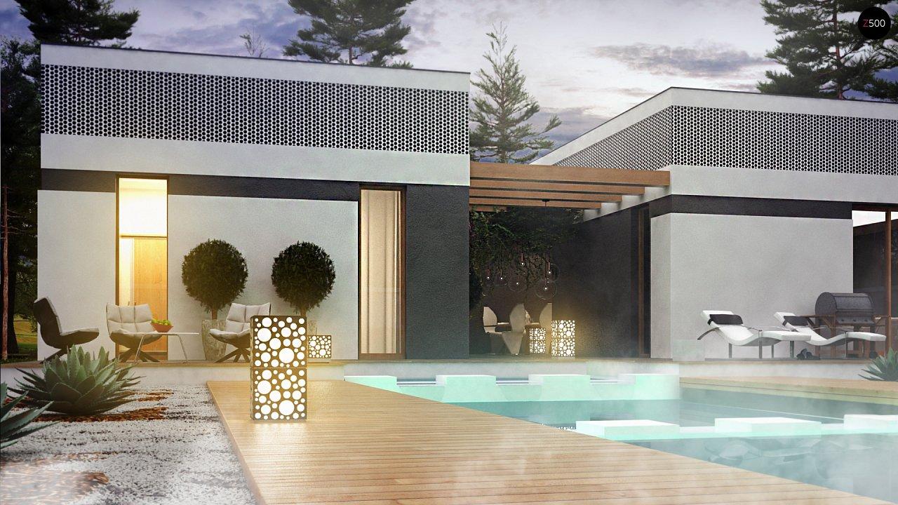 Проект дома в современном стиле с закрытой террасой - фото 7