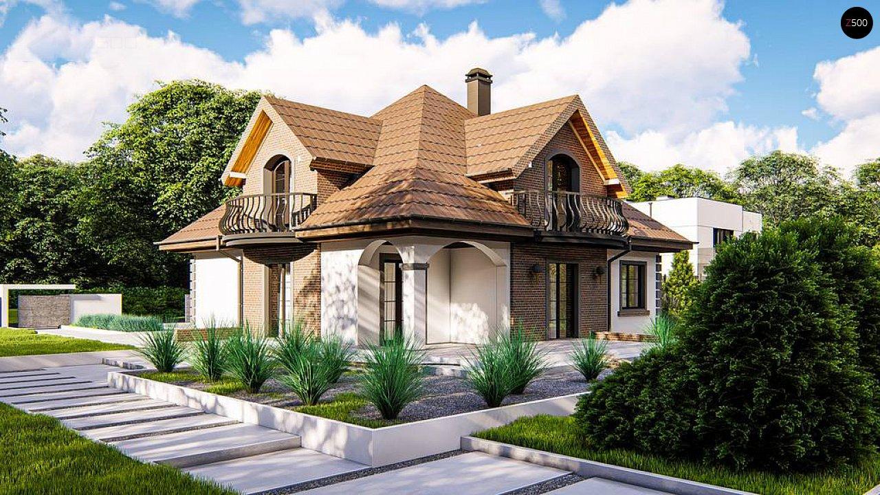 Классический мансардный дом с балконами. 1