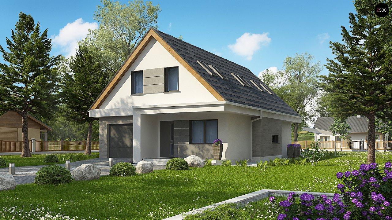 Проект классического мансардного дома с монохромным дизайном экстерьера 1