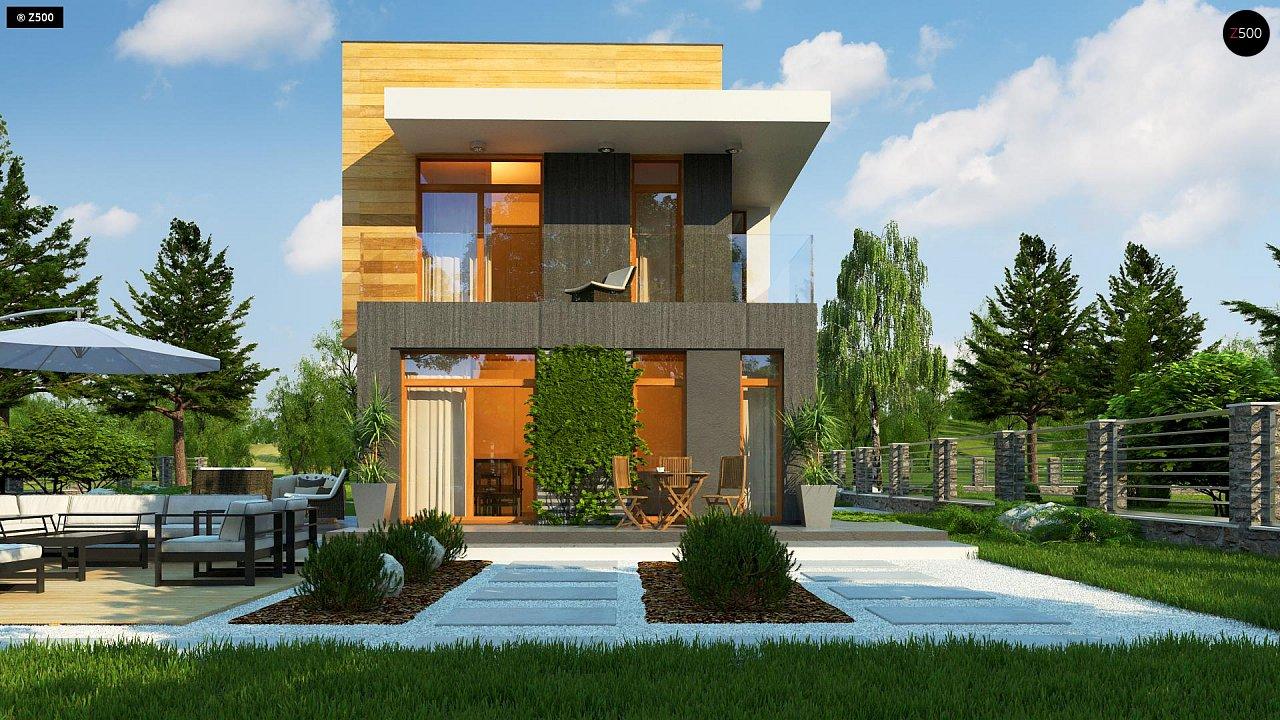 Проект двухэтажного дома в стиле кубизм, подходит для строительства на узком участке. - фото 5