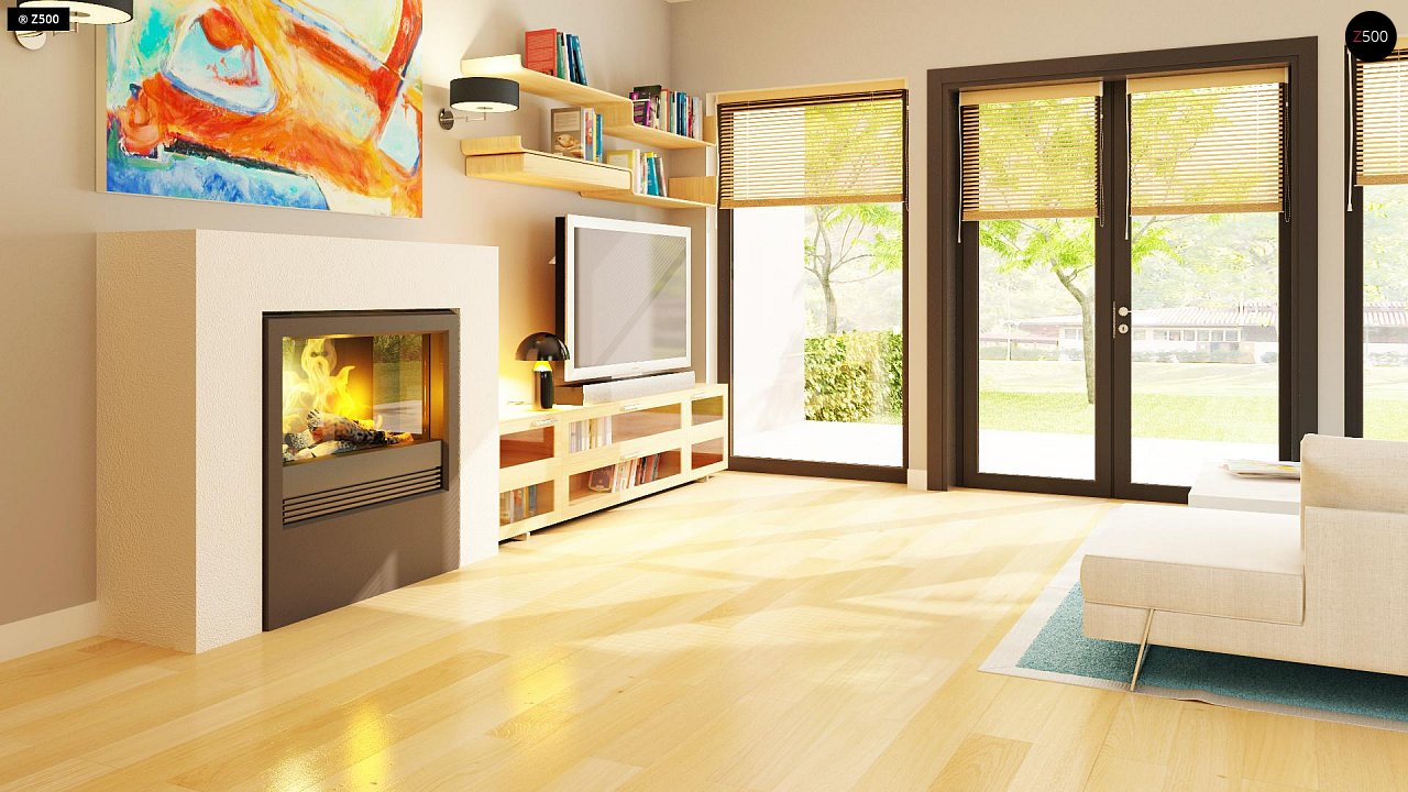 Практичный одноэтажный дом с 4-х скатной кровлей и угловым окном в кухне. 6