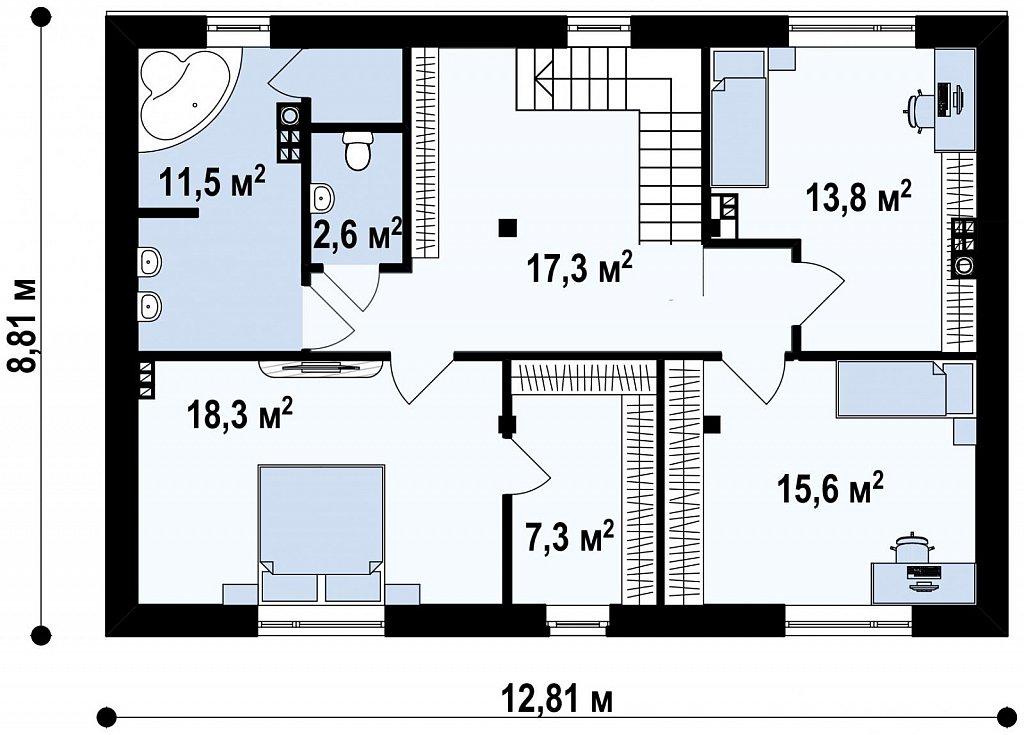 Просторная итальянская двухэтажная вилла с крытой боковой террасой и большим гаражом. план помещений 2