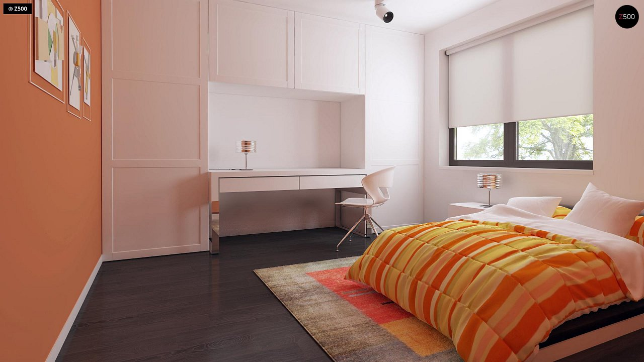 Проект удобного одноэтажного дома с гаражом для двух автомобилей и большим хозяйственным помещением. 19