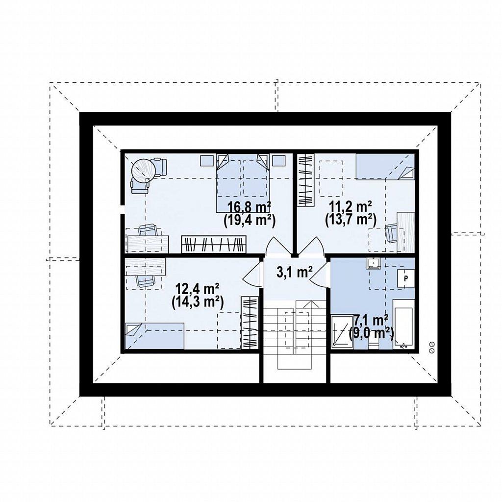 Дом с мансардой, четыре комнаты и гараж план помещений 2