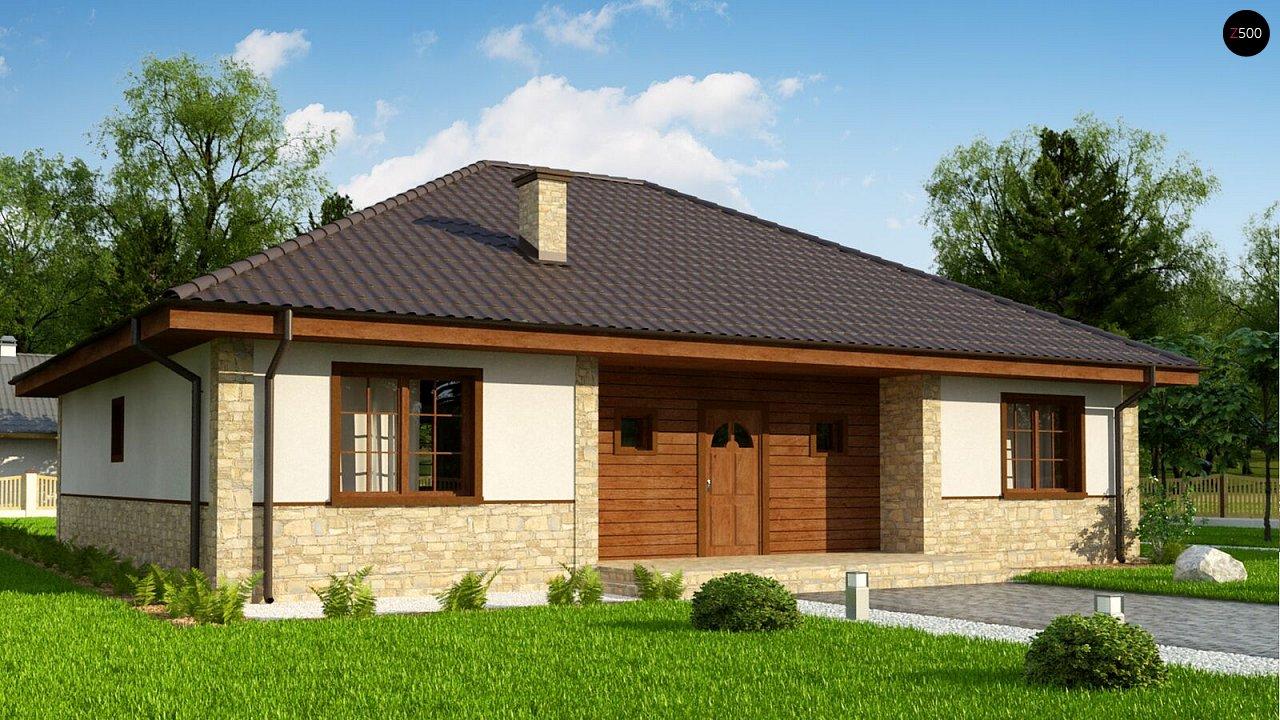 Одноэтажный дом с 4-х скатной кровлей и уютной террасой. - фото 4