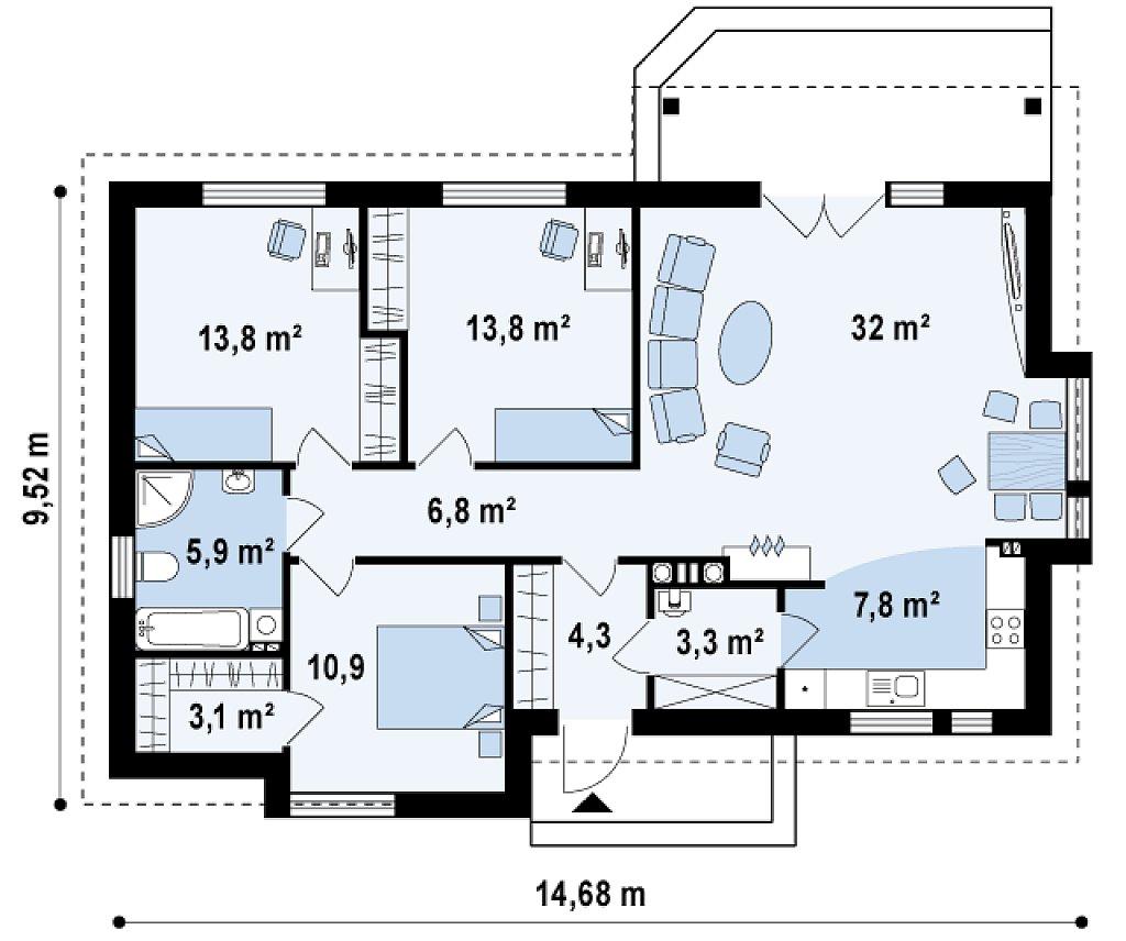 Функциональный одноэтажный дом с современными элементами отделки фасадов. план помещений 1